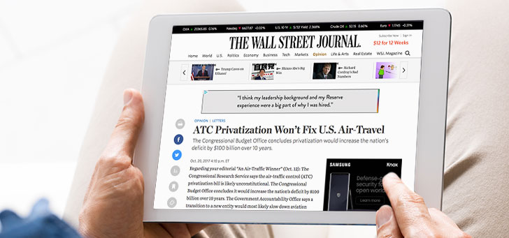 Wall Street Journal Publishes NBAA's Challenge to Pro-ATC Privatization Editorial