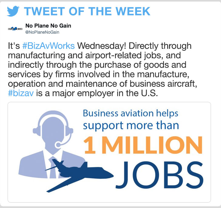 @NoPlaneNoGain -It's #BizAvWorks Wednesday! Directly through manufacturing and airport-related jobs, and indirectly through the purchase of goods and services by firms involved in the manufacture, operation and maintenance of business aircraft, #bizav is a major employer in the U.S.