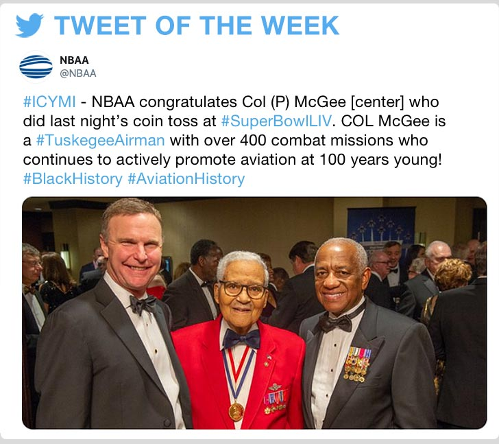 @NBAA #ICYMI - NBAA congratulates Col (P) McGee [center] who did last nights coin toss at #SuperBowlLIV. COL McGee is a #TuskegeeAirman with over 400 combat missions who continues to actively promote aviation at 100 years young! #BlackHistory #AviationHistory