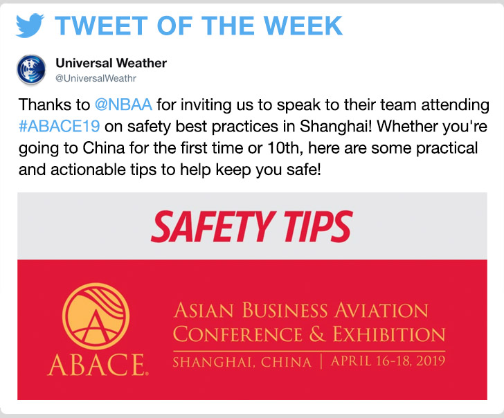 @UniversalWeathr -Thanks to @NBAA for inviting us to speak to their team attending #ABACE19 on safety best practices in Shanghai! Whether you're going to China for the first time or 10th, here are some practical and actionable tips to help keep you safe!