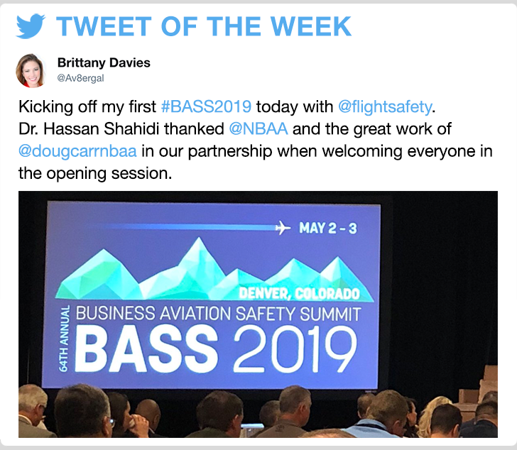 @Av8ergal - Kicking off my first #BASS2019 today with @flightsafety. Dr. Hassan Shahidi thanked @NBAA and the great work of  @dougcarrnbaa in our partnership when welcoming everyone in the opening session.