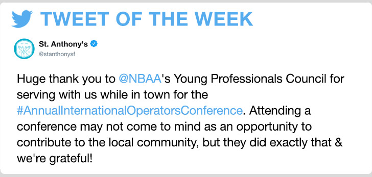 @stanthonysf - Huge thank you to @NBAA's Young Professionals Council for serving with us while in town for the #AnnualInternationalOperatorsConference. Attending a conference may not come to mind as an opportunity to contribute to the local community, but they did exactly that & we're grateful!