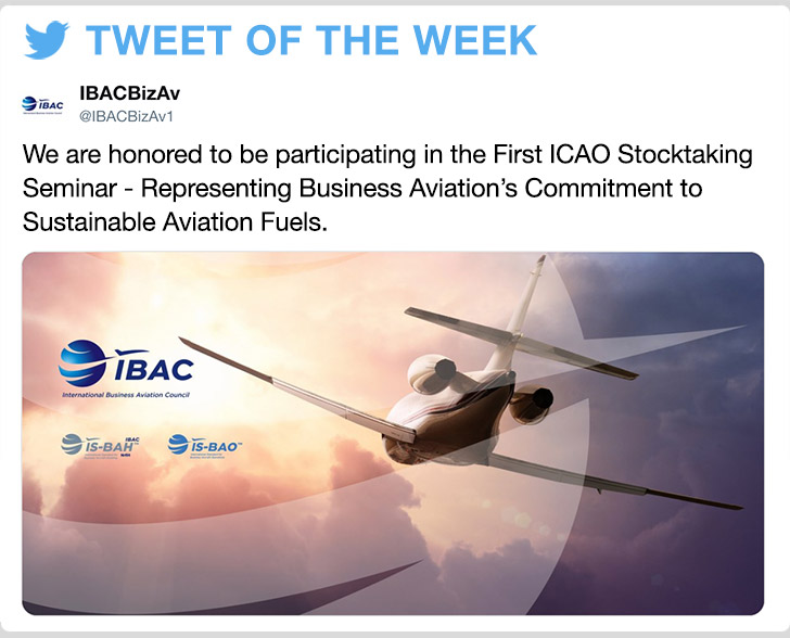 @IBACBizAv1 - We are honored to be participating in the First ICAO Stocktaking Seminar - Representing Business Aviation's Commitment to Sustainable Aviation Fuels.