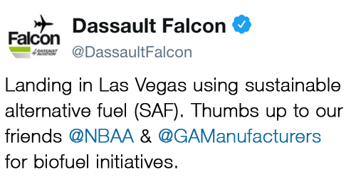 @DassaultFalcon - Landing in Las Vegas using sustainable alternative fuel (SAF). Thumbs up to our friends @NBAA & @GAManufacturers for biofuel initiatives.