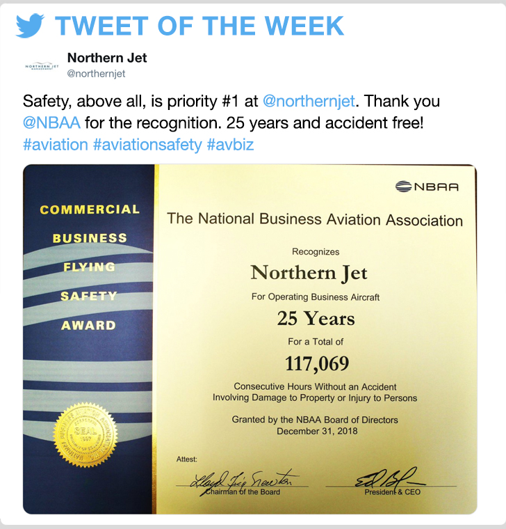 @Jnorthernjet - Safety, above all, is priority #1 at @northernjet . Thank you @NBAA for the recognition. 25 years and accident free!