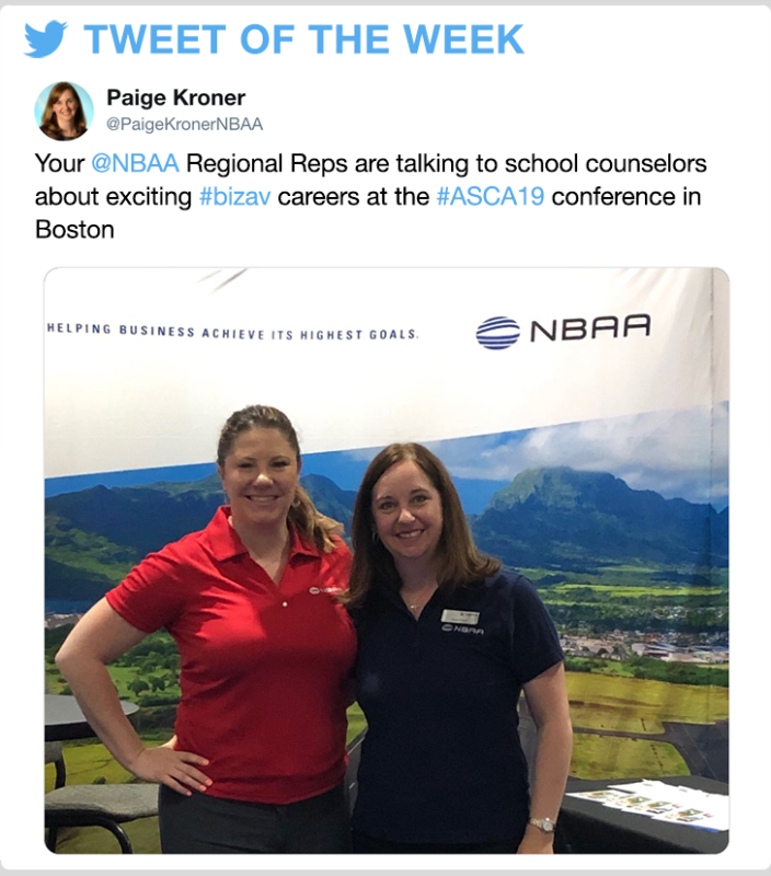@PaigeKronerNBAA - Your @NBAA Regional Reps are talking to school counselors about exciting #bizav careers at the #ASCA19 conference in Boston