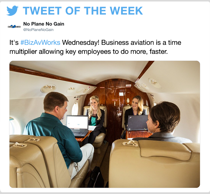 @noplanenogain - It's #BizAvWorks Wednesday! Business aviation is a time multiplier allowing key employees to do more, faster.