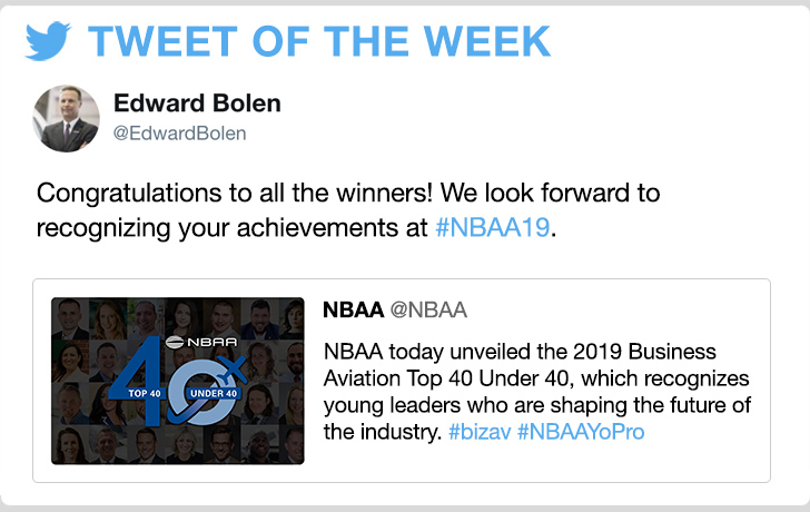 @EdwardBolen - Congratulations to all the winners! We look forward to recognizing your achievements at #NBAA19.