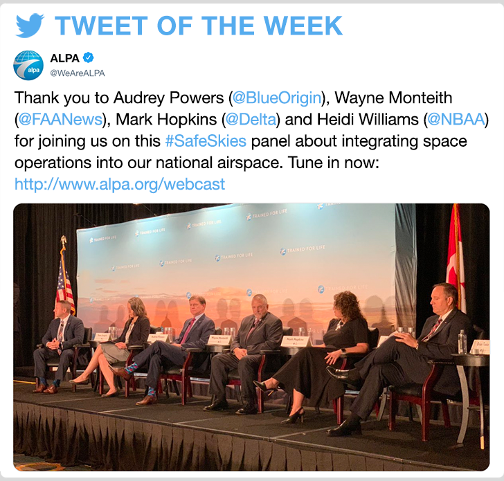 @WeAreALPA - Thank you to Audrey Powers (@BlueOrigin), Wayne Monteith (@FAANews), Mark Hopkins (@Delta) and Heidi Williams (@NBAA) for joining us on this #SafeSkies panel about integrating space operations into our national airspace. Tune in now: http://www.alpa.org/webcast