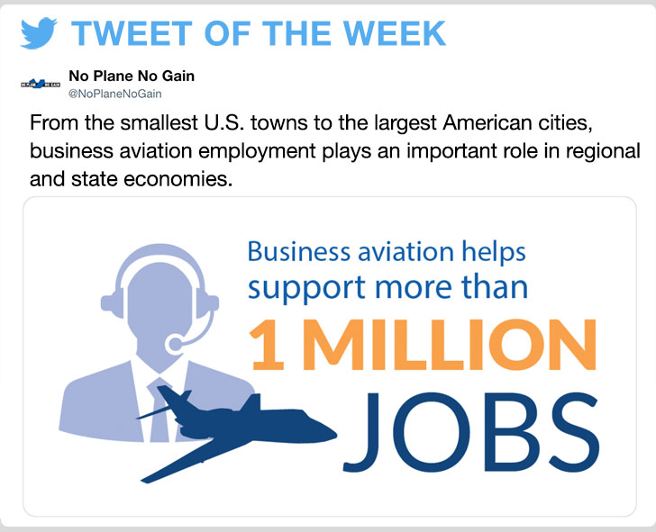@NoPlaneNoGain - From the smallest U.S. towns to the largest American cities, business aviation employment plays an important role in regional and state economies.